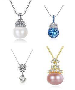 Pandantive dama din argint si perle naturale