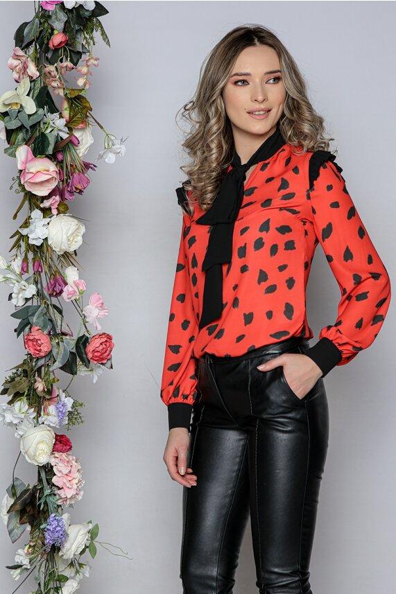 Bluza MBG rosie cu imprimeu dalmatian si inchidere tip esarfa