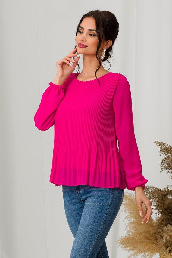 Bluza Ramona roz cu volanas la baza