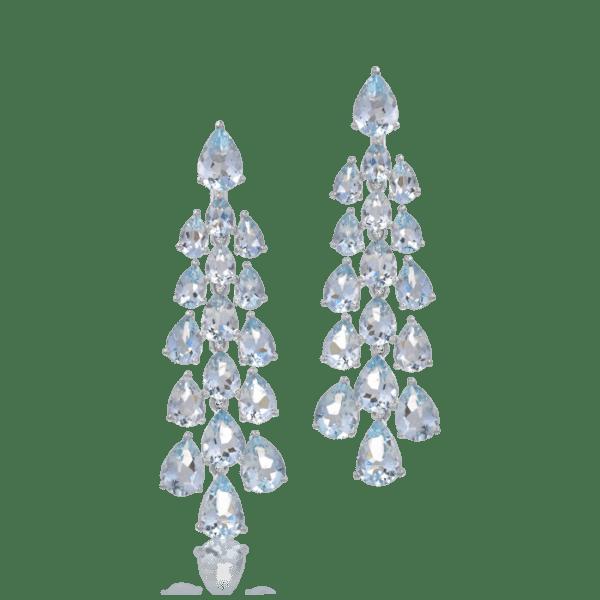 Cercei candelabru din aur alb de 14K cu aquamarine de 22.320ct