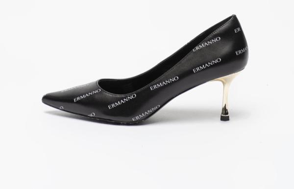 Pantofi de piele cu imprimeu logo si varf ascutit