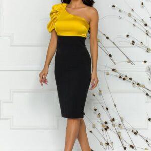 Rochie de seara negru si galben