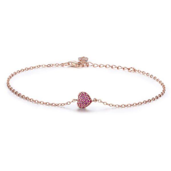 Bratara din argint Golden Pink Heart
