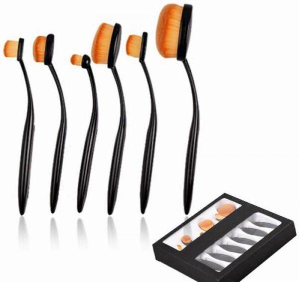 Set 6 Pensule Ovale Profesionale pentru makeup Luxury Edition - Black