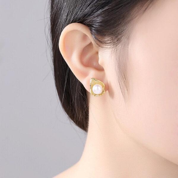 Cercei argint aurit cu perle naturale Rita
