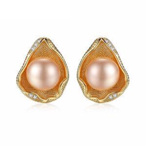 Cercei argint aurit cu perle roz