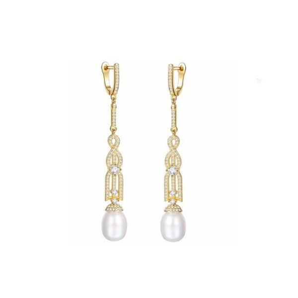 Cercei argint placati aur perle naturale
