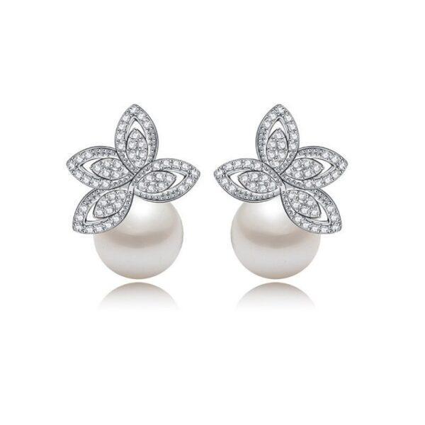 Cercei cu perle si cristale Lotus