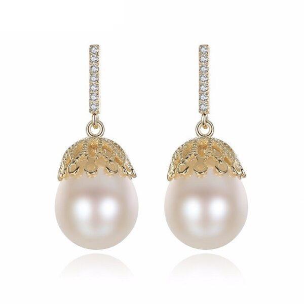 Cercei perle naturale Amaze argint aurit