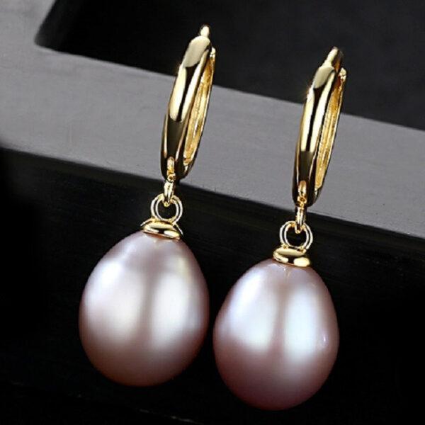Cercei perle naturale mov Bianca