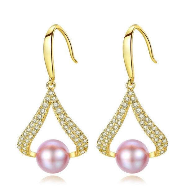 Cercei perle naturale mov Cressida