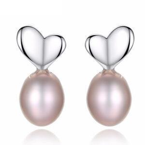Cercei cu perle naturale mov Elle