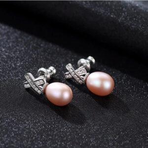 Cercei perle naturale mov Raina