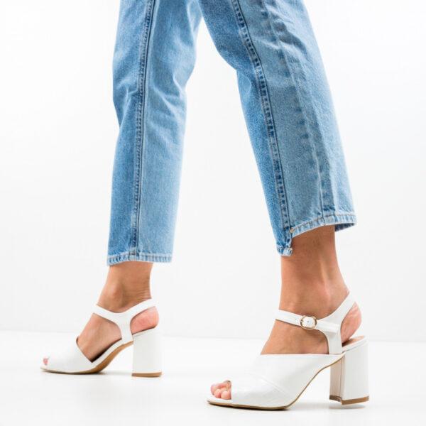 Sandale dama cu toc Orozco Albe