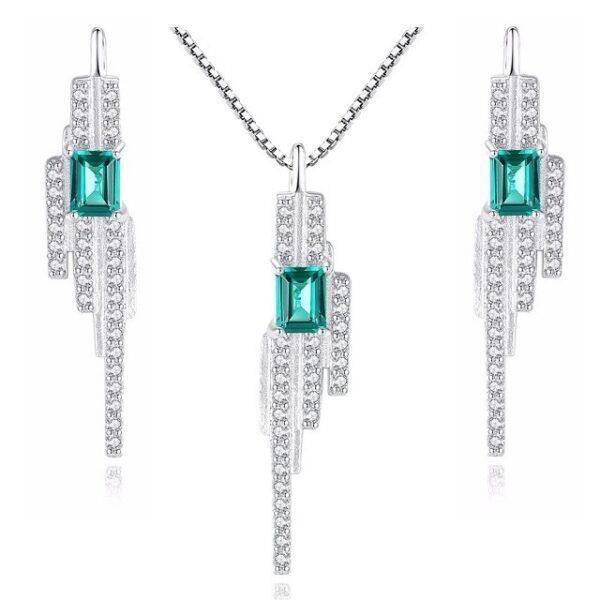 Set bijuterii argint cu topaz verde Eliana